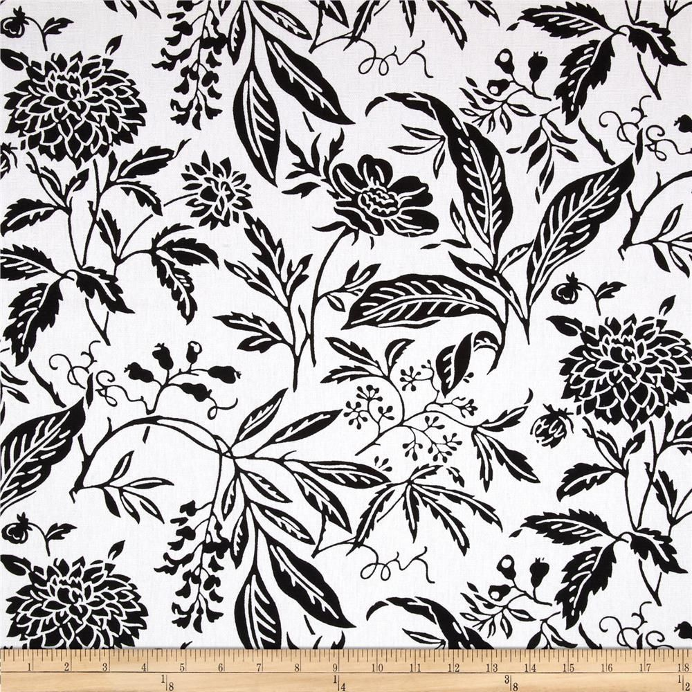 Georgette Home Decor Jenna Floral White/Black from @fabricdotcom ...