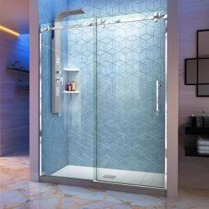 Dreamwerks 60 in. x 79 in. Frameless Sliding Shower Door in Stainless Steel-SB228B - The Home Depot #framelessslidingshowerdoors
