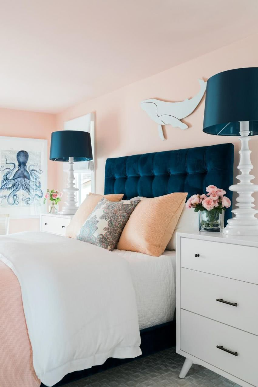 Paredes Rosa Cabecero Y Lamparas Azul Marino Home Room Design Luxurious Bedrooms Relaxing Bedroom