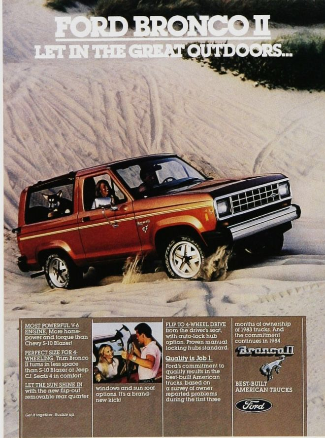 Ford Bronco Ii Automotive Advertisement Let In The Great Outdoors 1984 American Cars Suv 4 Wheel Drive 4x4 Ford Bronco Ford Bronco Ii Bronco Ii