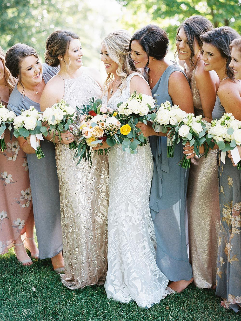 This Italian Wedding In Arkansas Had A Mega Size Guest List Ruffled Yellow Bridesmaid Dresses Mustard Yellow Bridesmaid Dress Yellow Bridesmaids [ 1328 x 1000 Pixel ]