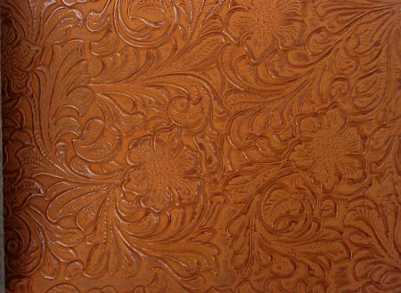 Imitation Hand Tooled Leather Embossed Vinyl Upholstery