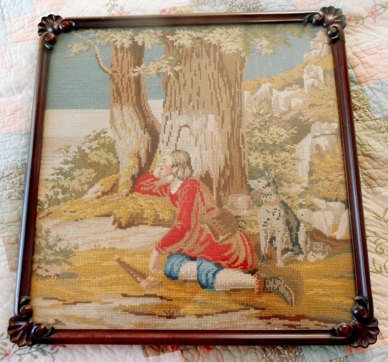 Antique Victorian Needlepoint in Carved Rosewood Frame | Needlepoint ...