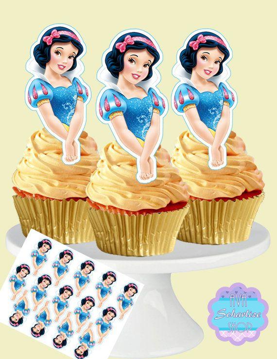 PRECUT Disney Princess Snow White 12 Edible Cupcake Toppers Party Decorations