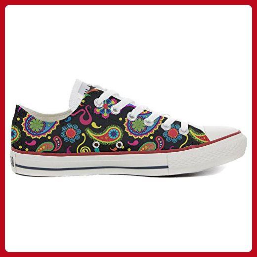 Converse All Star Slim personalisierte Schuhe (Handwerk Produkt) Black  White Paisley  32 EU