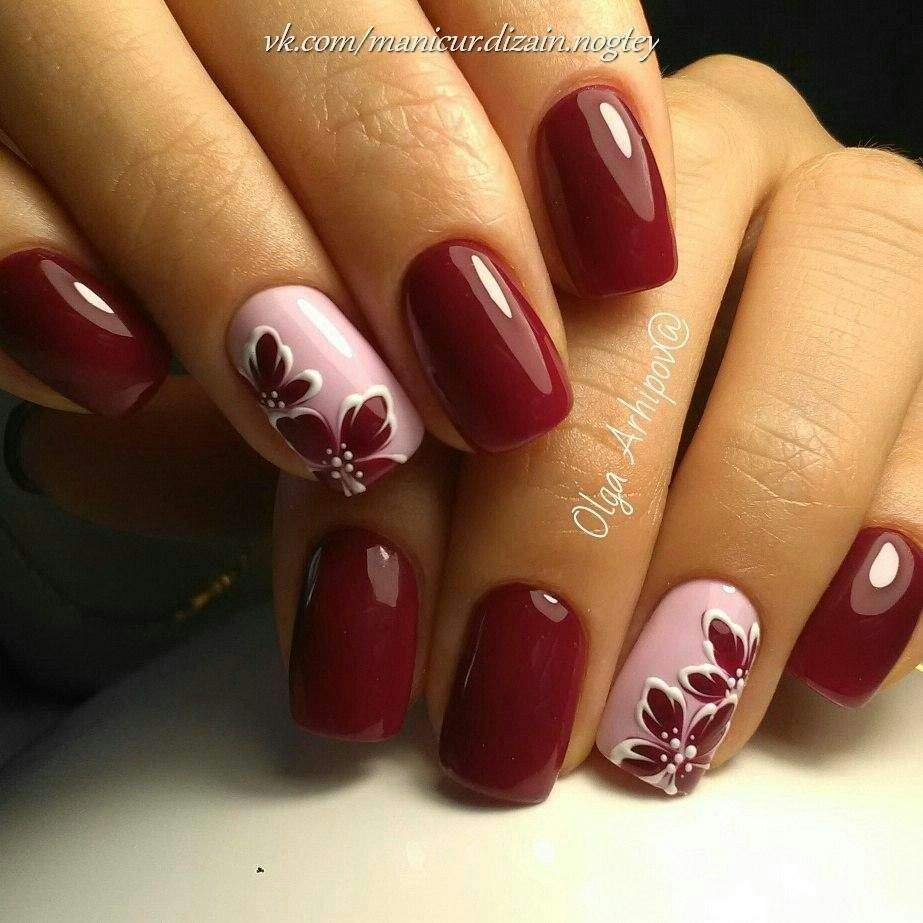 Burgundy And Pink Polish With Flower Design Trendy Nails Burgundy Nails Nail Designs