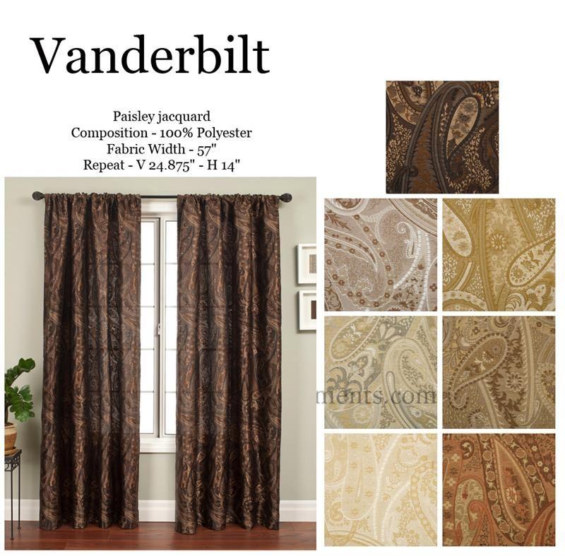 Vanderbilt Paisley Jacquard Curtains Fabric Window Treatments