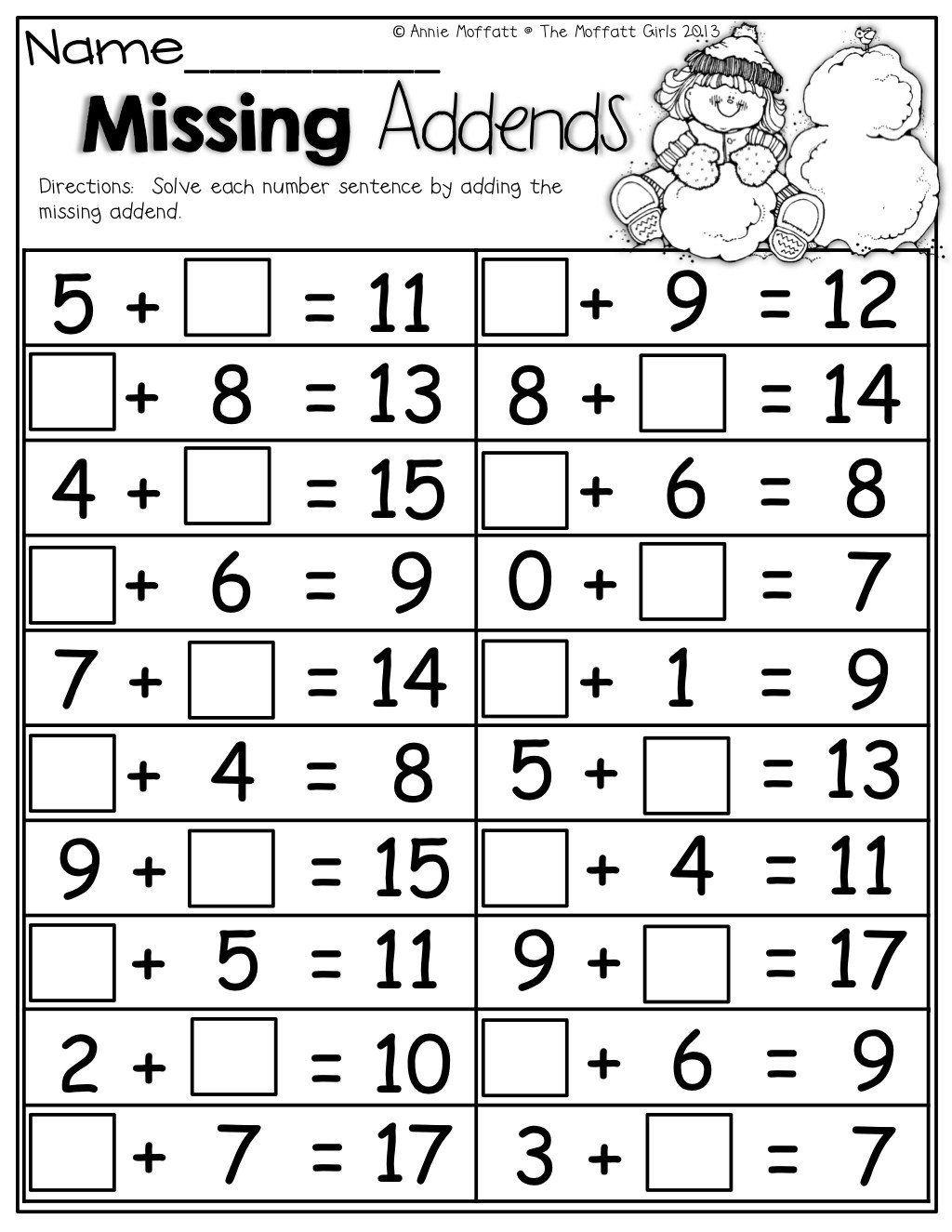Missing Addend Worksheets Kindergarten Worksheet Missing Subtraction Subtrahen In 2020 Kindergarten Math Worksheets 1st Grade Math Worksheets 2nd Grade Math Worksheets