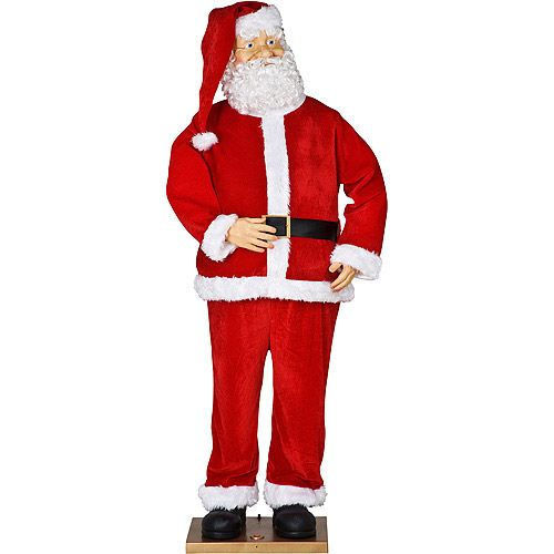 Life-Size Animated Santa With Realistic Face Christmas Decor, Over 5.5' Tall. Life-Size Animated Santa With Realistic Face Christmas Decor, Over 5.5' Tall: Includes A/C adaptor Bilingual in English and Spanish Moves mouth and dances 5.5' Animated Santa sets up and collapses easily Sound, motion and push-button activated MP3 enabled English songs: Jingle Bells, We Wish You A Merry Christmas, Deck the Halls, Up On the House Top Spanish songs: Jingle Bells, We Wish You A Merry Christmas, Deck…