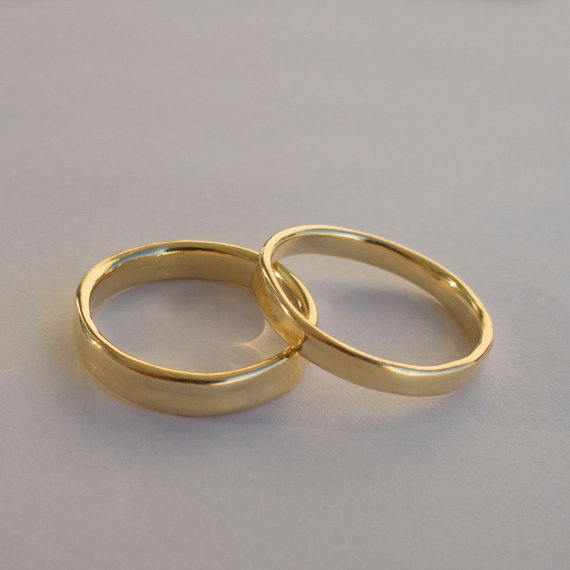 Seine Und Ihre Hochzeitsringe 14 K Gold Ringe Einfache Gold Etsy In 2021 Wedding Rings Sets His And Hers Unique Engagement Rings Rose Gold 14k Wedding Rings
