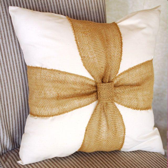 Burlap Knot Pillow by Beverlys.com