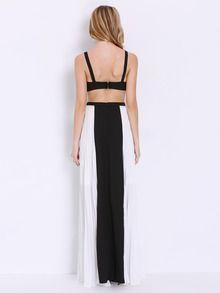 79fc2c90d2 Black White Spaghetti Strap Backless Yule Color Block Maxi Dress -SheIn( Sheinside)