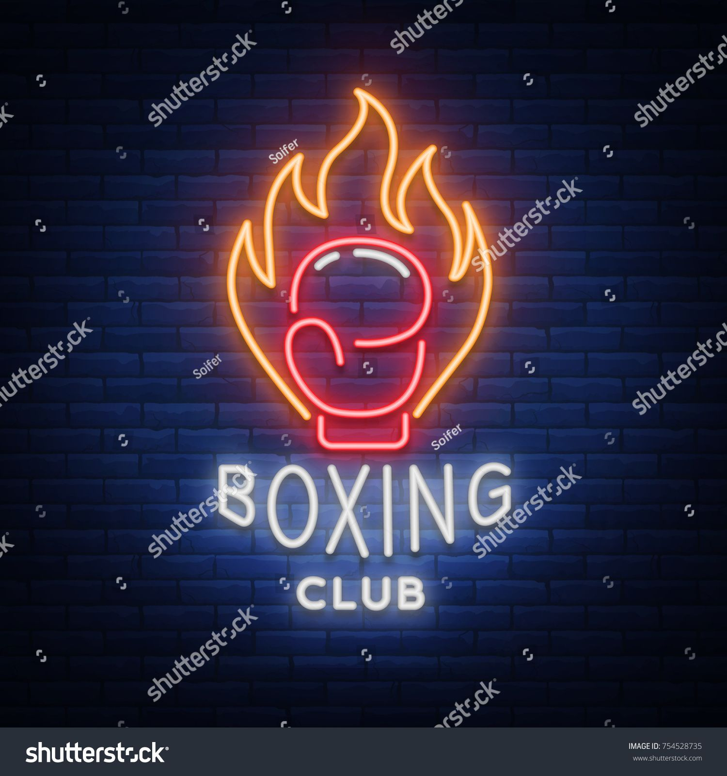 Boxing club logo in neon style, vector illustration