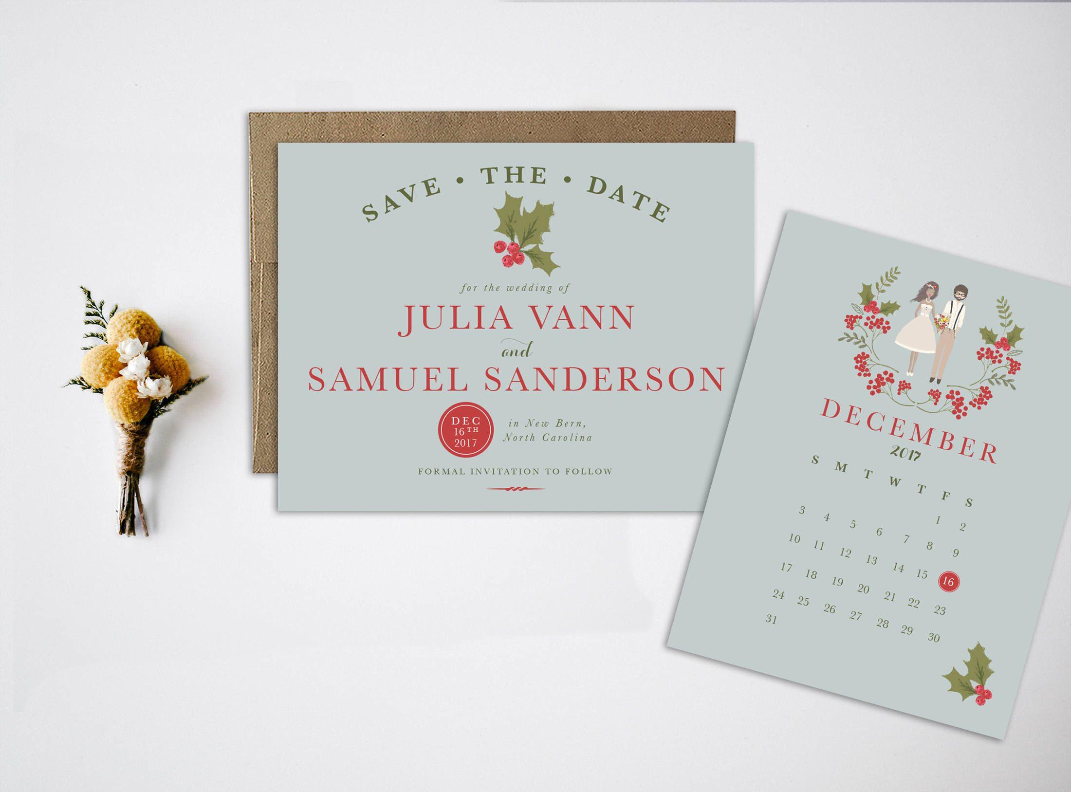 Christmas Save the Date, Portrait Wedding Invitations, Portrait Save ...
