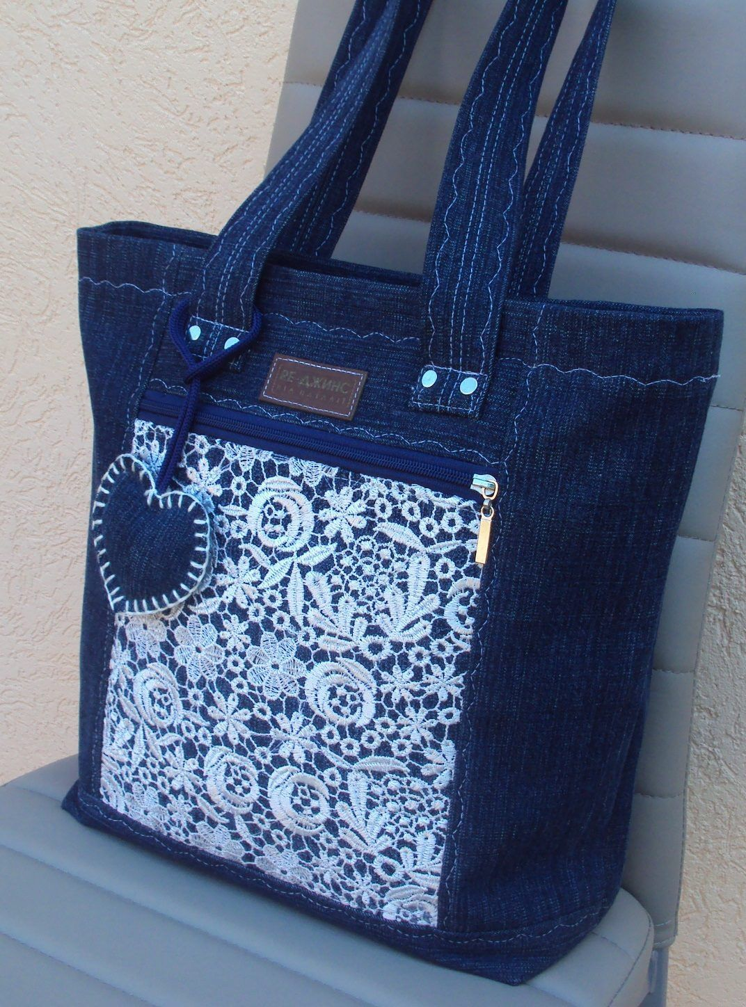 Beautiful denim jeans tote with lace #handmadebag | torby ...