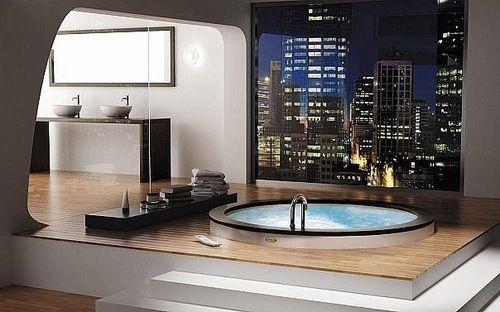 Indoor Hot Tub Love The Raised Platform Bathroom Design Luxury Modern Luxury Bathroom Dream Bathrooms
