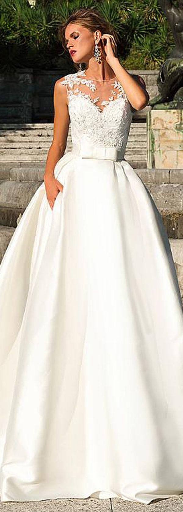 Marvelous tulle u satin jewel neckline aline wedding dress with