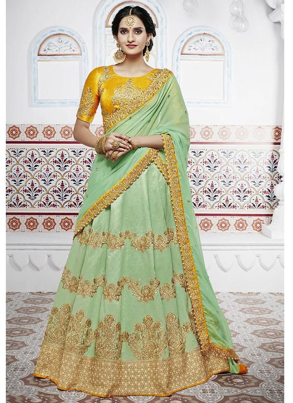 5704333de1 Light Green Art Silk Embroidered Lehenga with Yellow Short Sleeve Choli