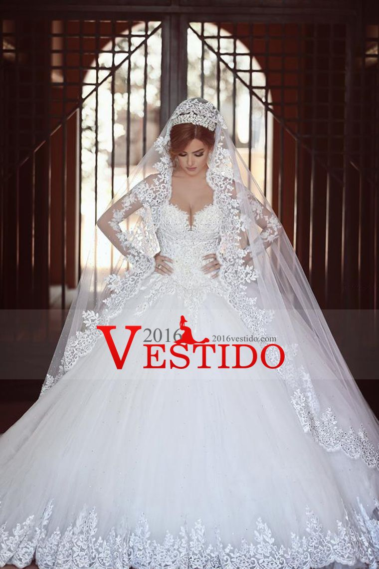 2016 caliente de la boda vestidos de novia vestido de bola de Tulle ...