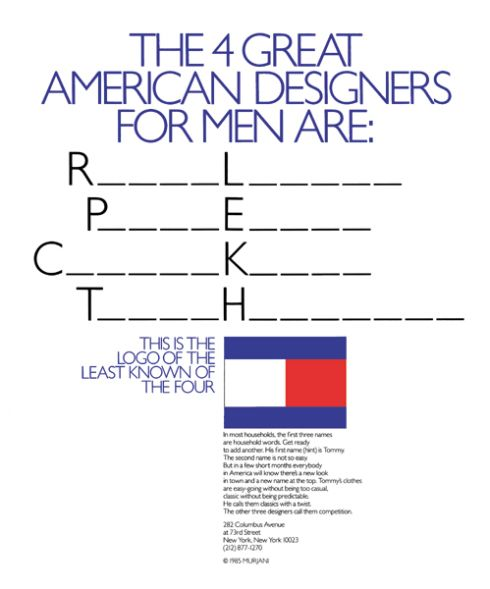 """076b8f171 """"The 4 Great American Designers"""" by George Lois for Tommy Hilfiger 