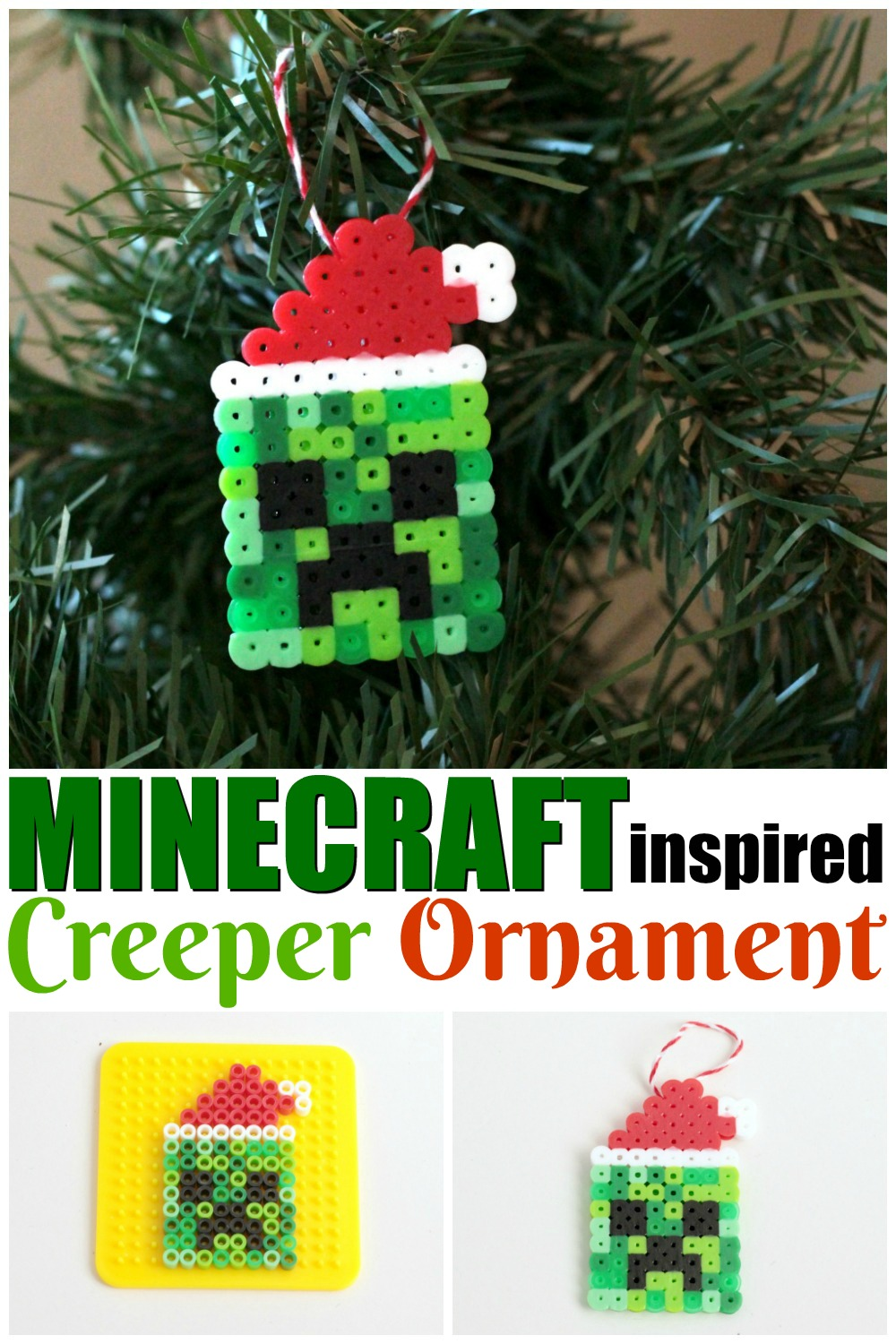 Minecraft Inspired Creeper Ornament Christmas Crafts For Kids Diy Xmas Ornaments Holiday Crafts