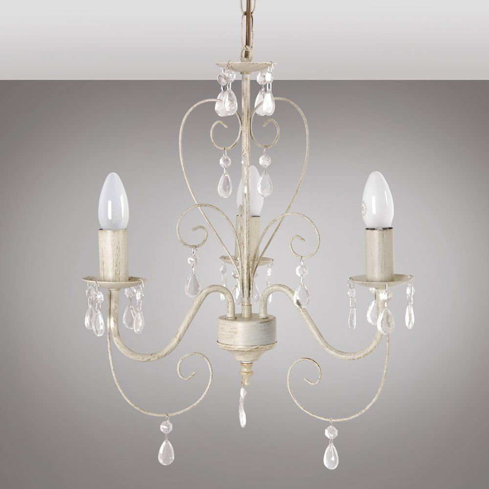 Cream ornate vintage style shabby chic 3 way ceiling light cream ornate vintage style shabby chic 3 way ceiling light chandelier with beautiful acrylic jewels arubaitofo Choice Image