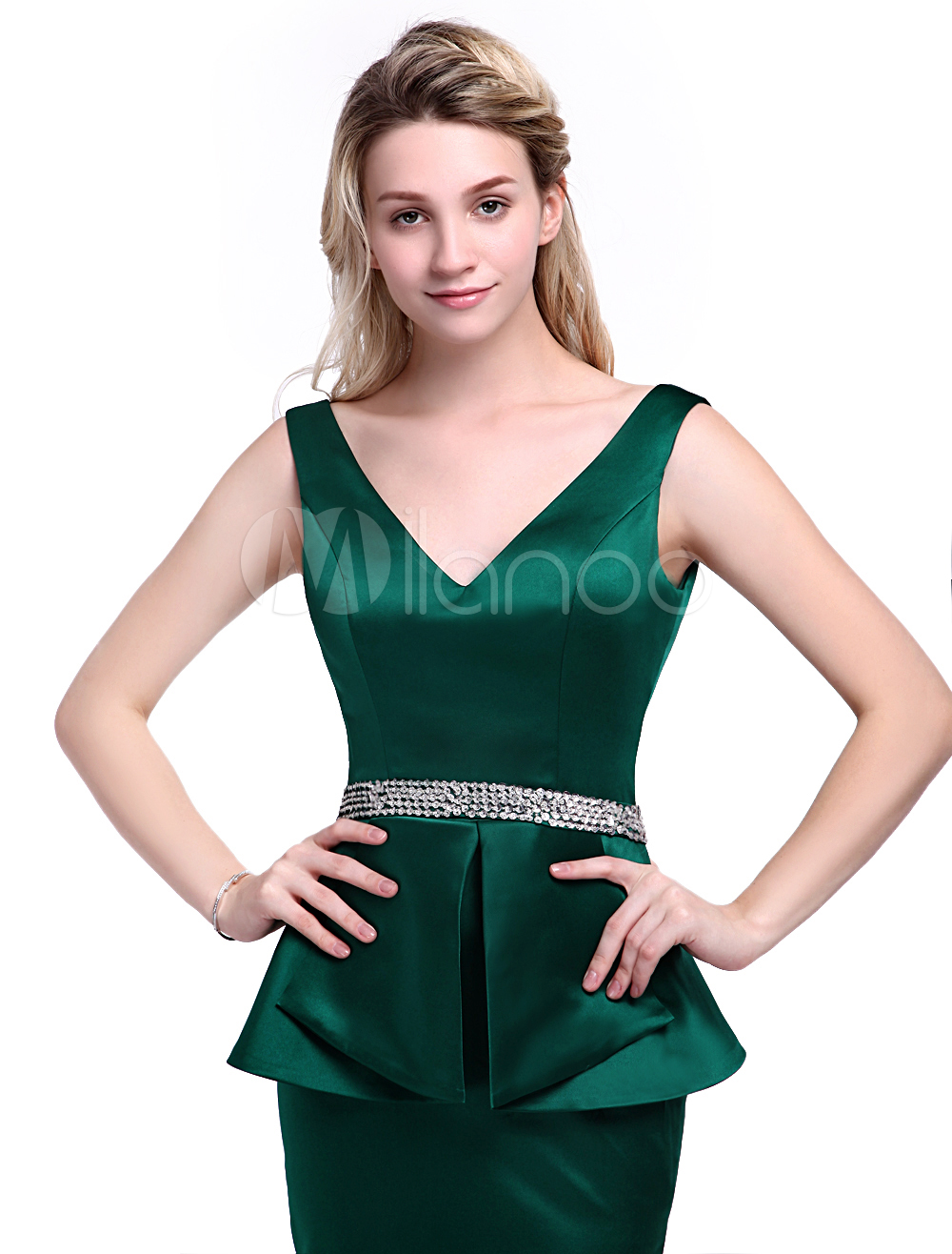 63287702ea86 Dark Green Dress For Mother of the Bride with Sheath Off-The-Shoulder Satin  Wedding Guest Dress Milanoo  Mother