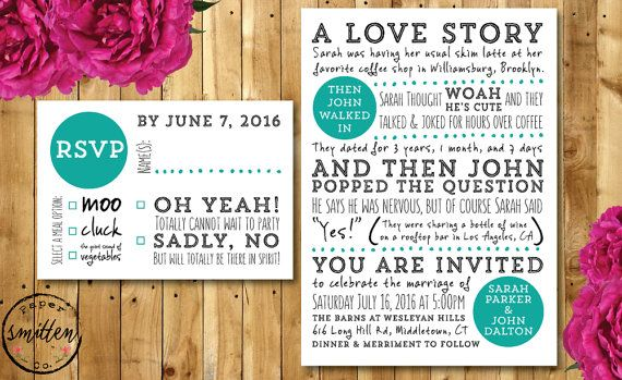 Humor Wedding Invitations: Fun PRINTABLE Wedding Invitation Suite// Love Story
