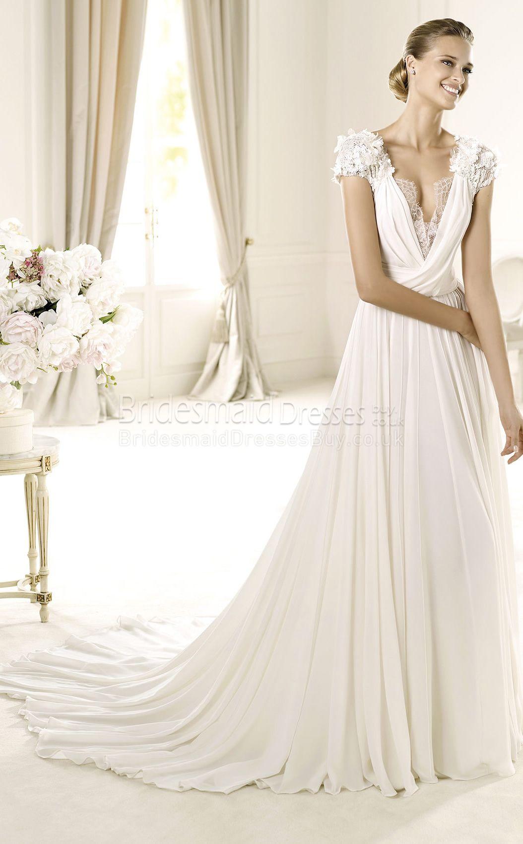 Glamorous aline velent chiffonlace vneck short sleeve floor