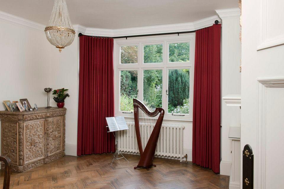bay window net curtain rods