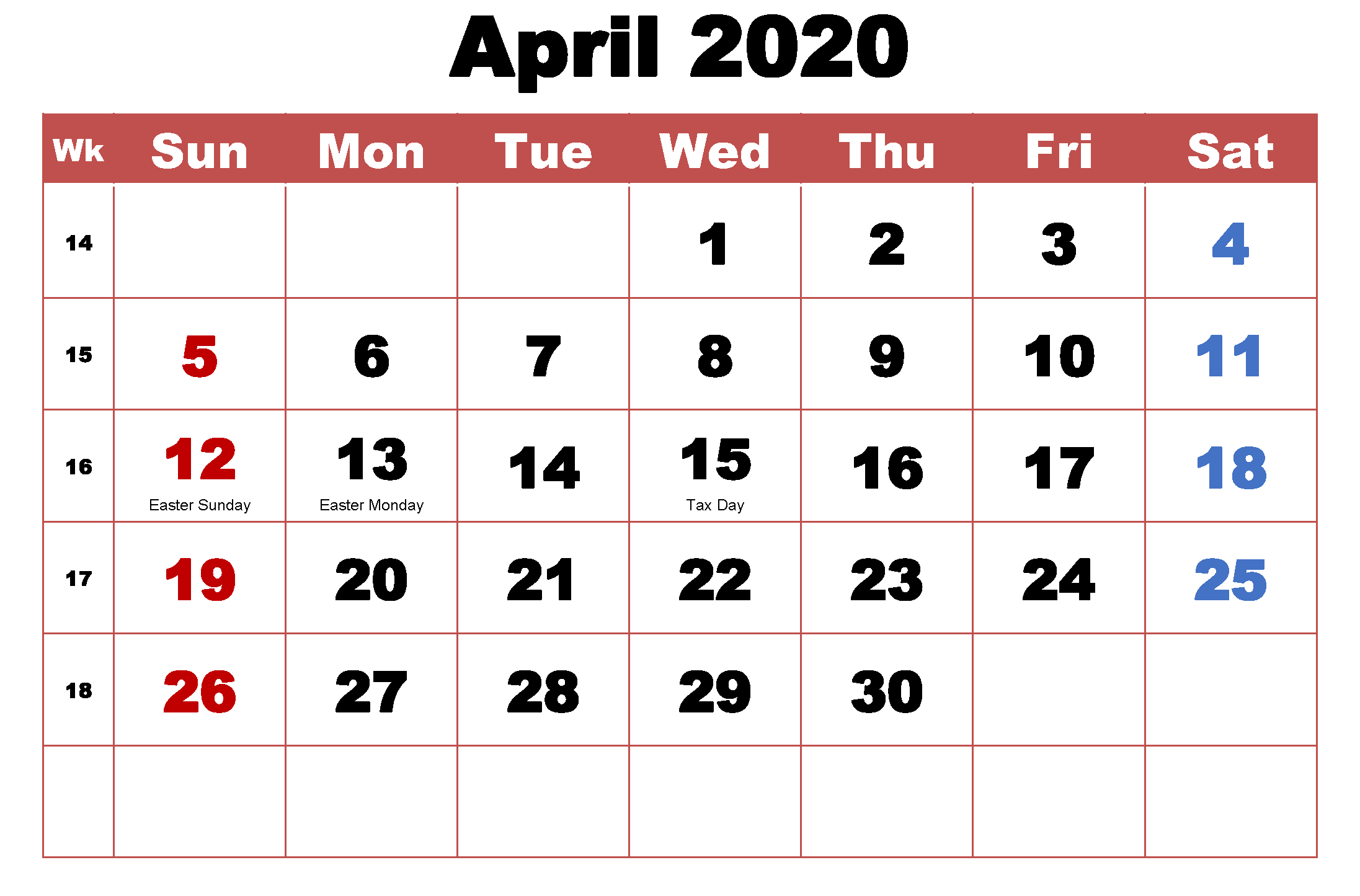 Cute April 2020 Holidays Calendar in 2020 | Holiday calendar, Federal  holiday calendar, Resurrection day