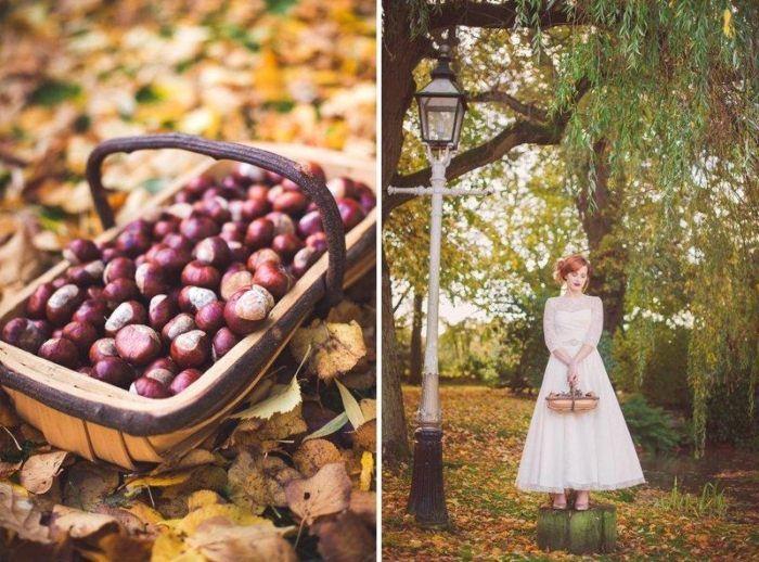 Deko und Accessoires für die Herbst-Hochzeit im Wald-natürliche Produkte, Laub, Eicheln