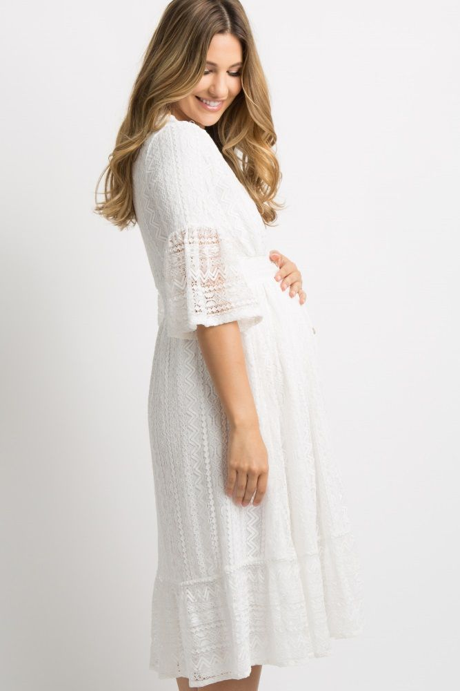 1ce3331ab761 White Lace Overlay Button Front Maternity Midi Dress | baby reveal/shower  outfits | Maternity midi dress, White maternity dresses, Pink blush  maternity ...