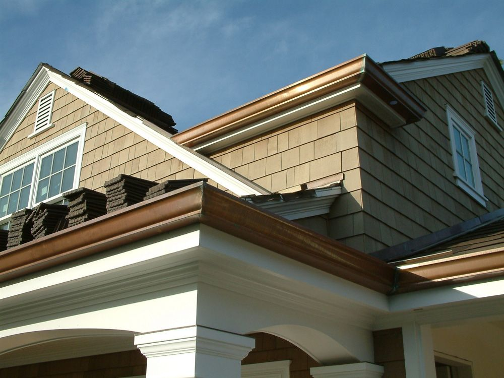 Faux Copper K Style Gutters Google Search Copper Gutters Gutters House Paint Exterior