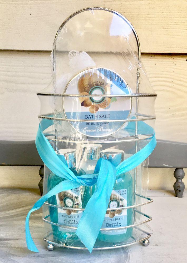 Spa Basket Bath and Body Gift Opaline Spa Ocean Care Lotion Gel Salt ...