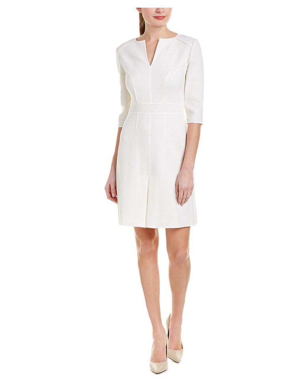 f9b8fb1484e Carolina Herrera - White Wool Sheath Dress - Lyst