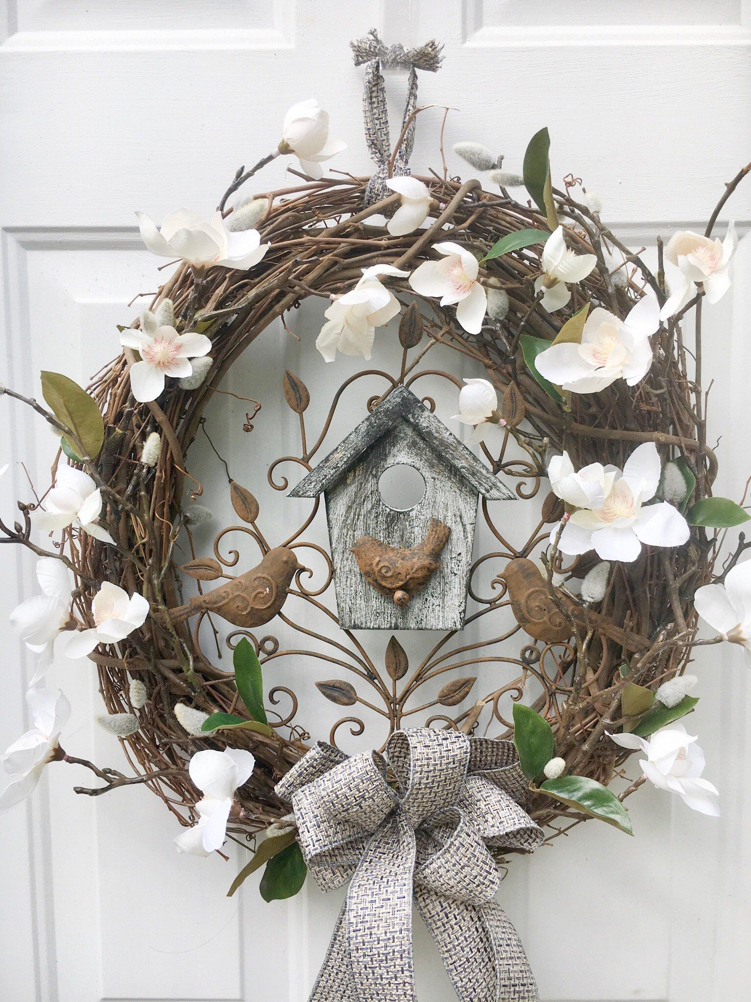 Rustic home decor front door wreath Magnolia farmhouse