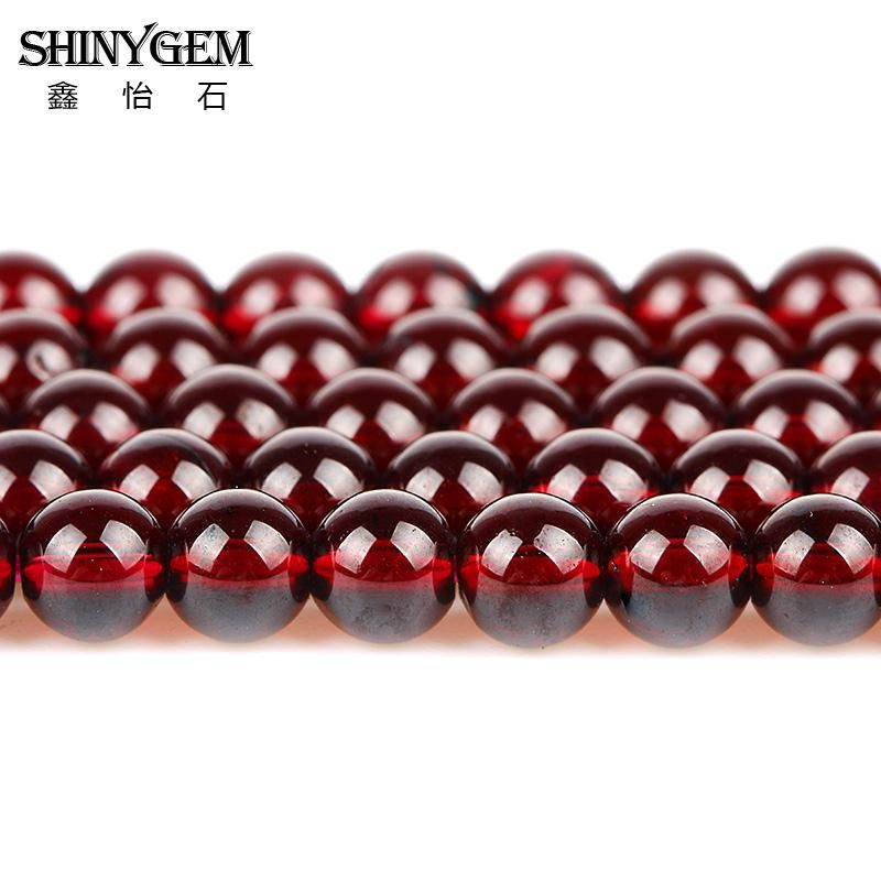 Natural 10mm wine red DIY natural Garnet gemstone loose beads 15""