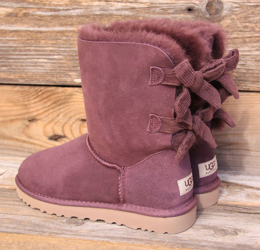 20fb59b681f Details about UGG CLASSIC SHORT BAILEY BOW II NIGHTFALL WOMEN BOOTS ...