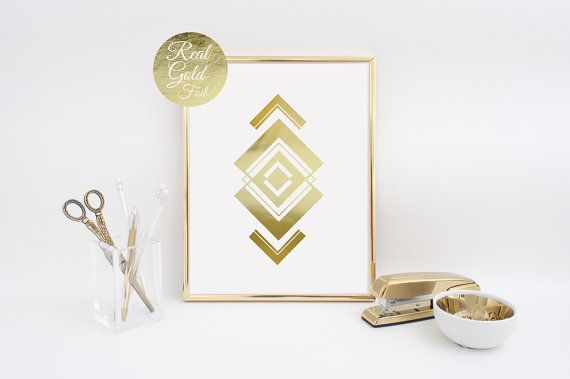 Abstract Print Poster Real Gold Foil Gold Aztec by LovelyPosters