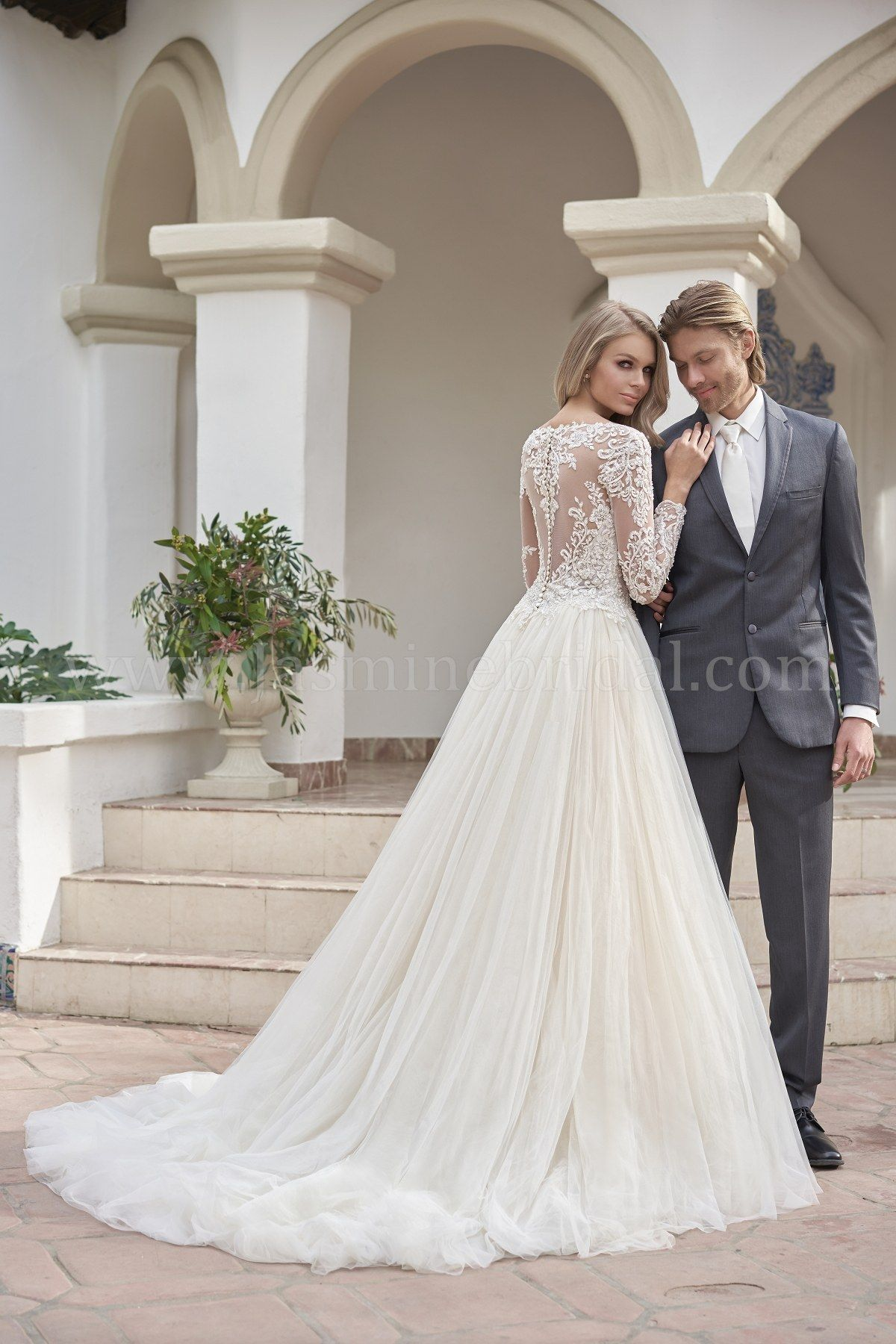 T202061 Illusion Bodice Illusion Neckline Embroidered Lace Tulle Wedding Dress Bridal Wedding Dresses Bridal Ball Gown Wedding Dress Couture