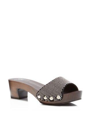 GIUSEPPE ZANOTTI Gladis Studded Slide Mid Heel Sandals