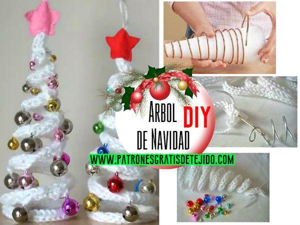 Cómo hacer un arbol de Navidad con alambre y cordón tejido a crochet ...