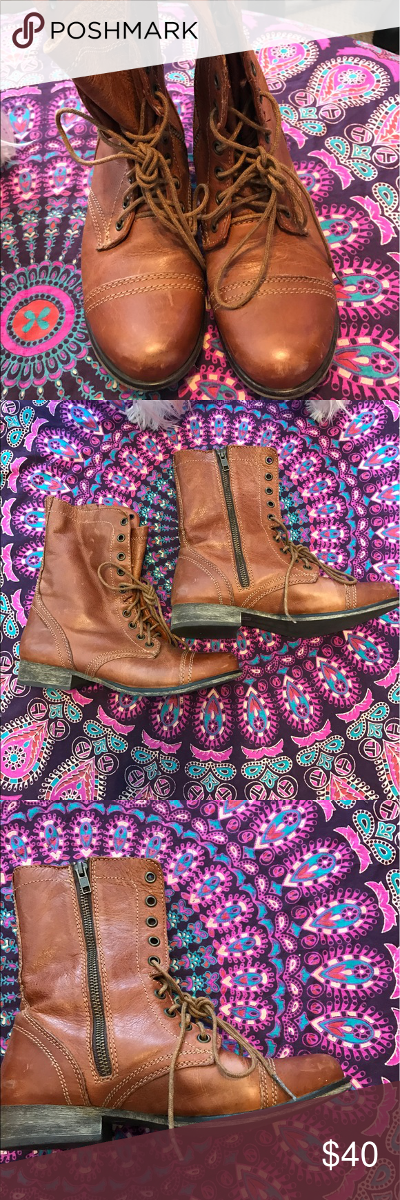 Steve Madden women's Troopa boots Never worn Steve Madden Troopa lace up boots in brown leather. Steve Madden Shoes Combat & Moto Boots