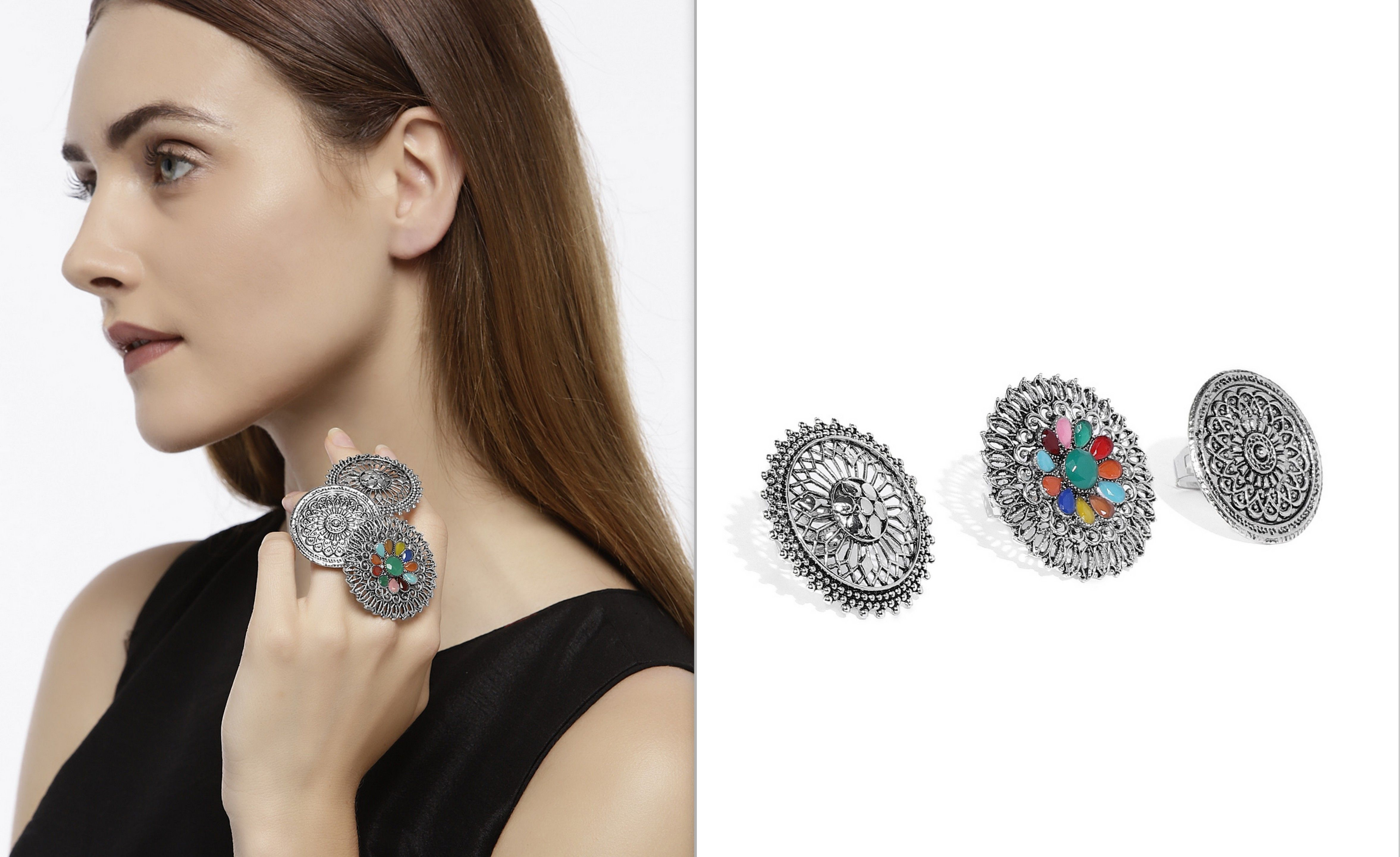 Statement Ring Traditional Ring,German Silver Ring Bollywood Oxidized Silver Plated Handmade Party wear Adjustable Stone Ring For women