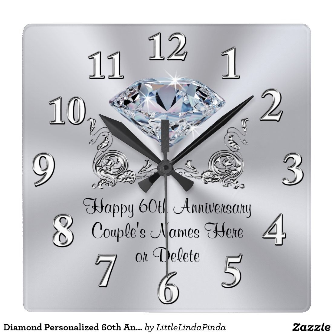 Diamond Personalized 60th Anniversary Gifts CLOCK Zazzle