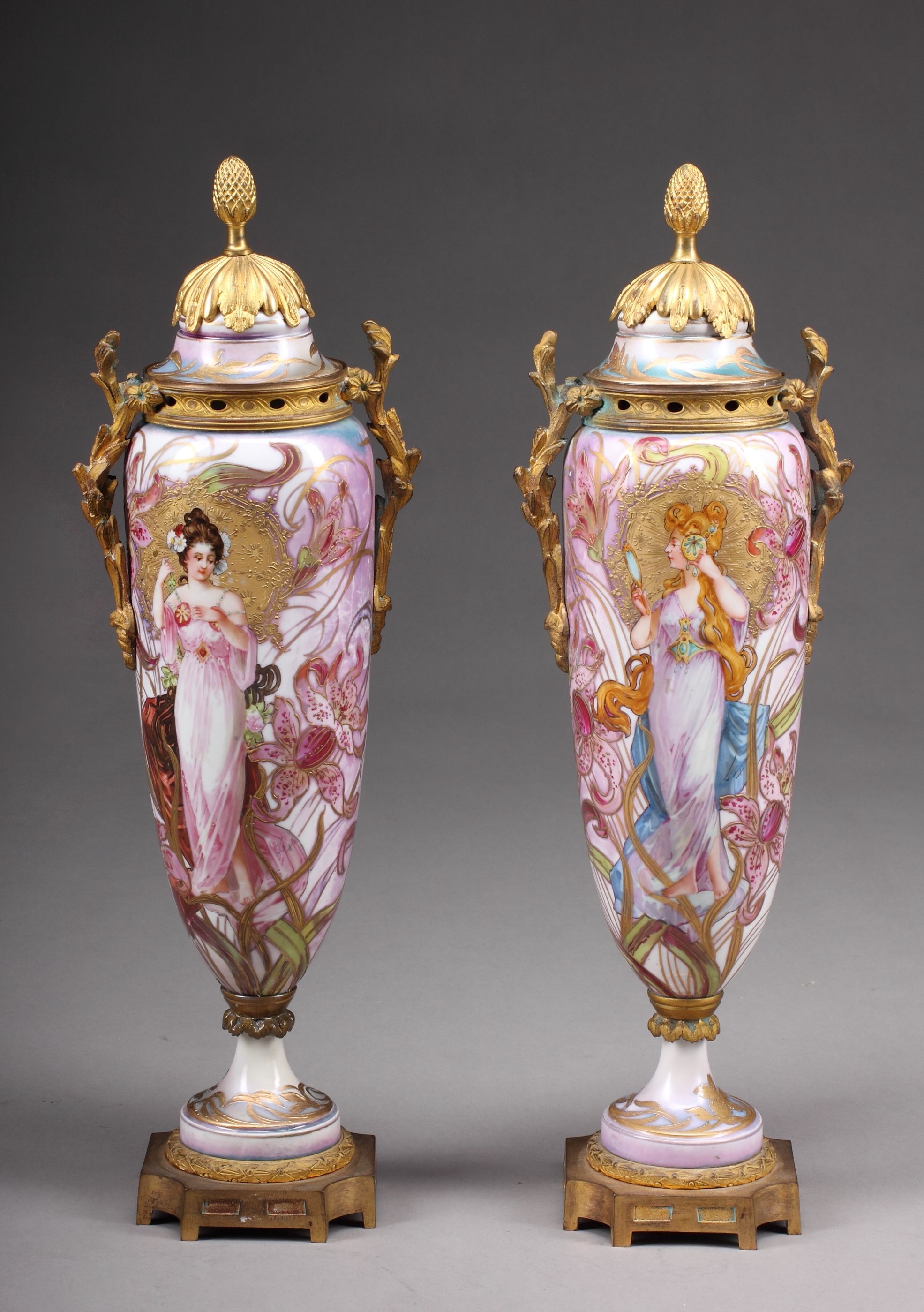French porcelain fine pair of french art nouveau sevres french porcelain fine pair of french art nouveau sevres porcelain vases for sale reviewsmspy
