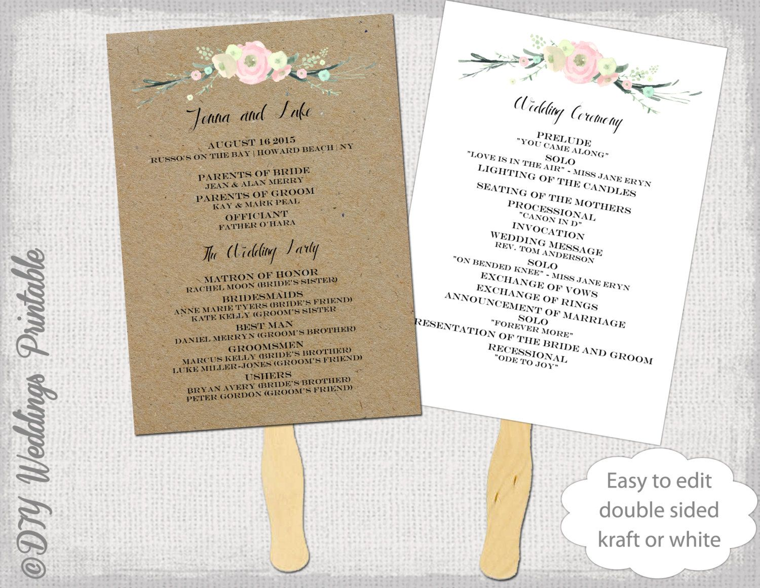 Wedding Program Fan Template With A Rustic Flowers Design On Kraft Background Or White Both Included For You To Make Your