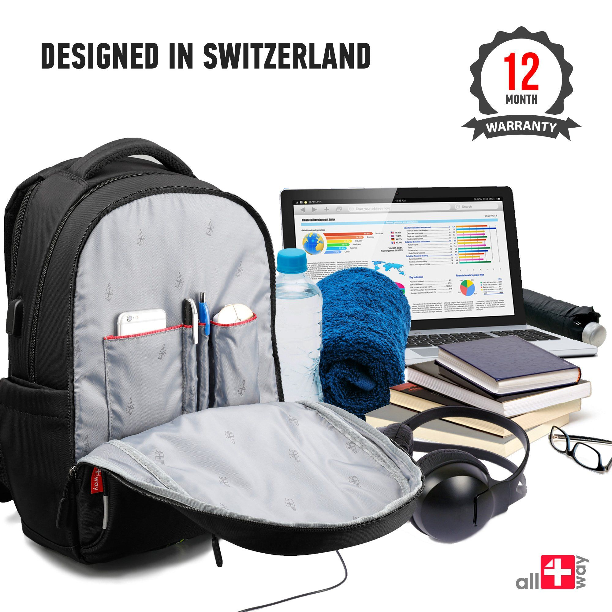 81e4d6266f Laptop Backpack Anti Theft Backpack Waterproof Rain Cover SWISS Design RFID  Blocking USB Charging Port Business College Travel School Backpack Black ...