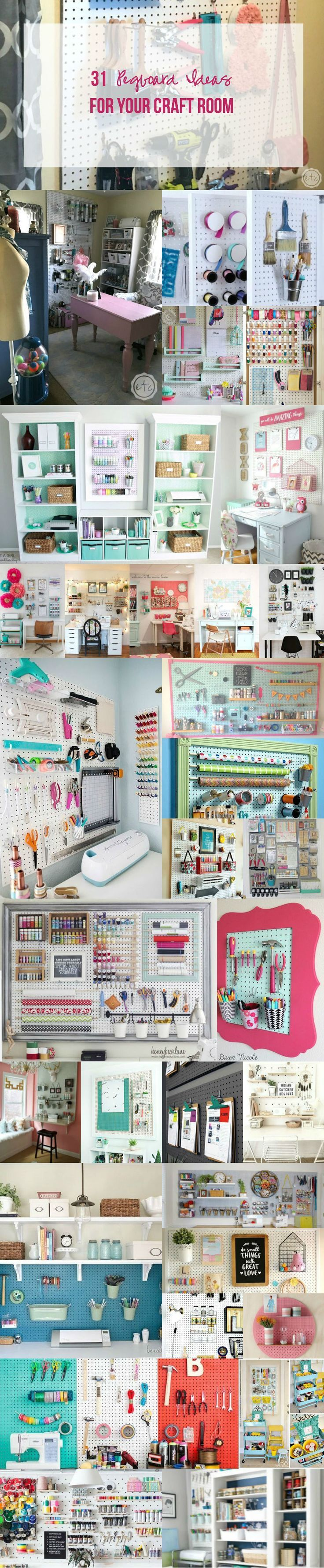 12++ Pegboard craft room organizer ideas